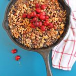 cherry oatmeal in a skillet