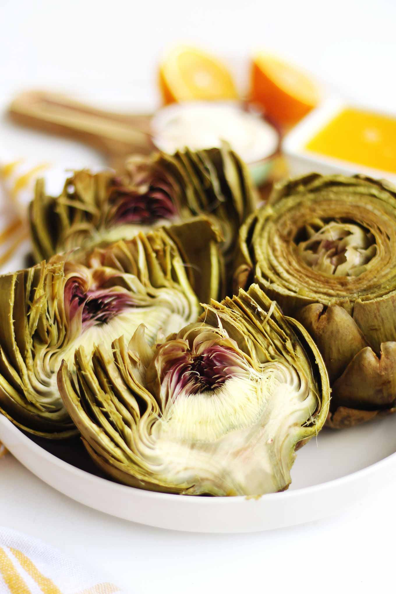 steamed artichokes cut in half