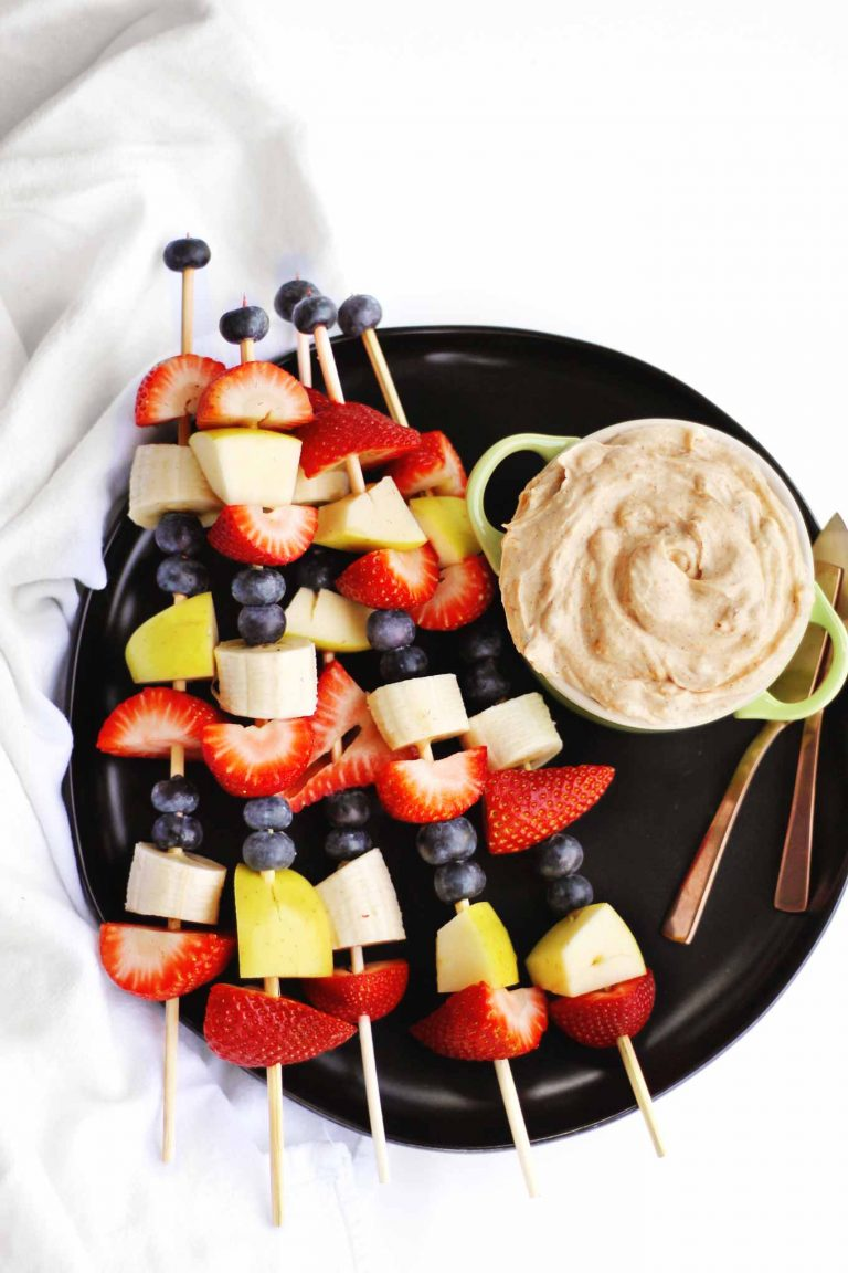 fruit kabobs with yogurt dip