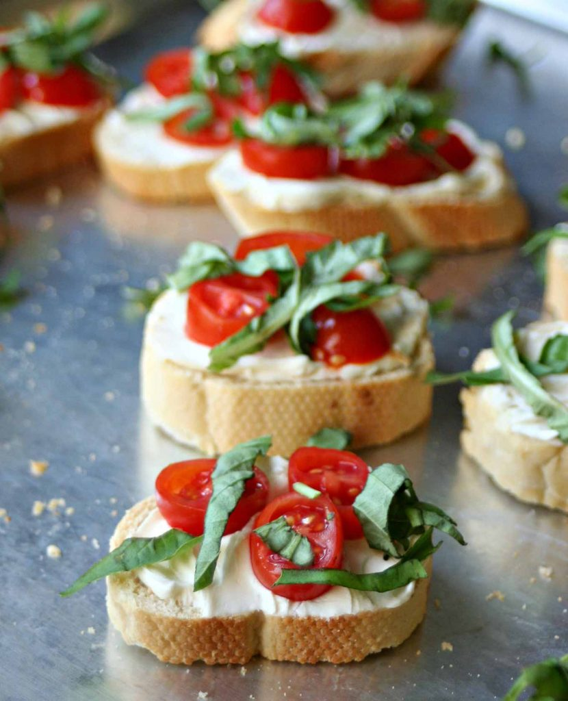 tomato basil crostini on sheet pan