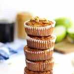 stack of peanut butter apple oatmeal muffins