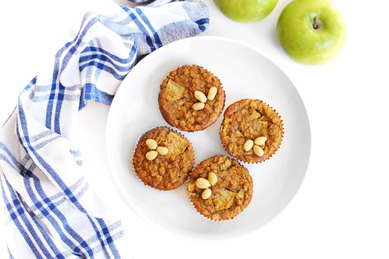 apple oatmeal cups in a white bowl