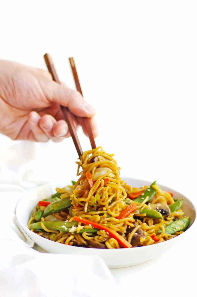 chow mein noodles with chopsticks