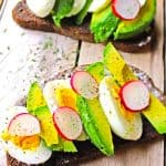 avocado toast with egg and radish