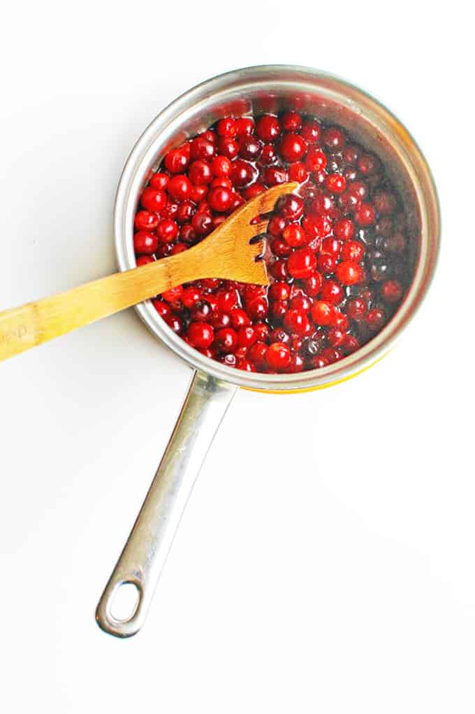 Cranberry sauce cooking in a pan