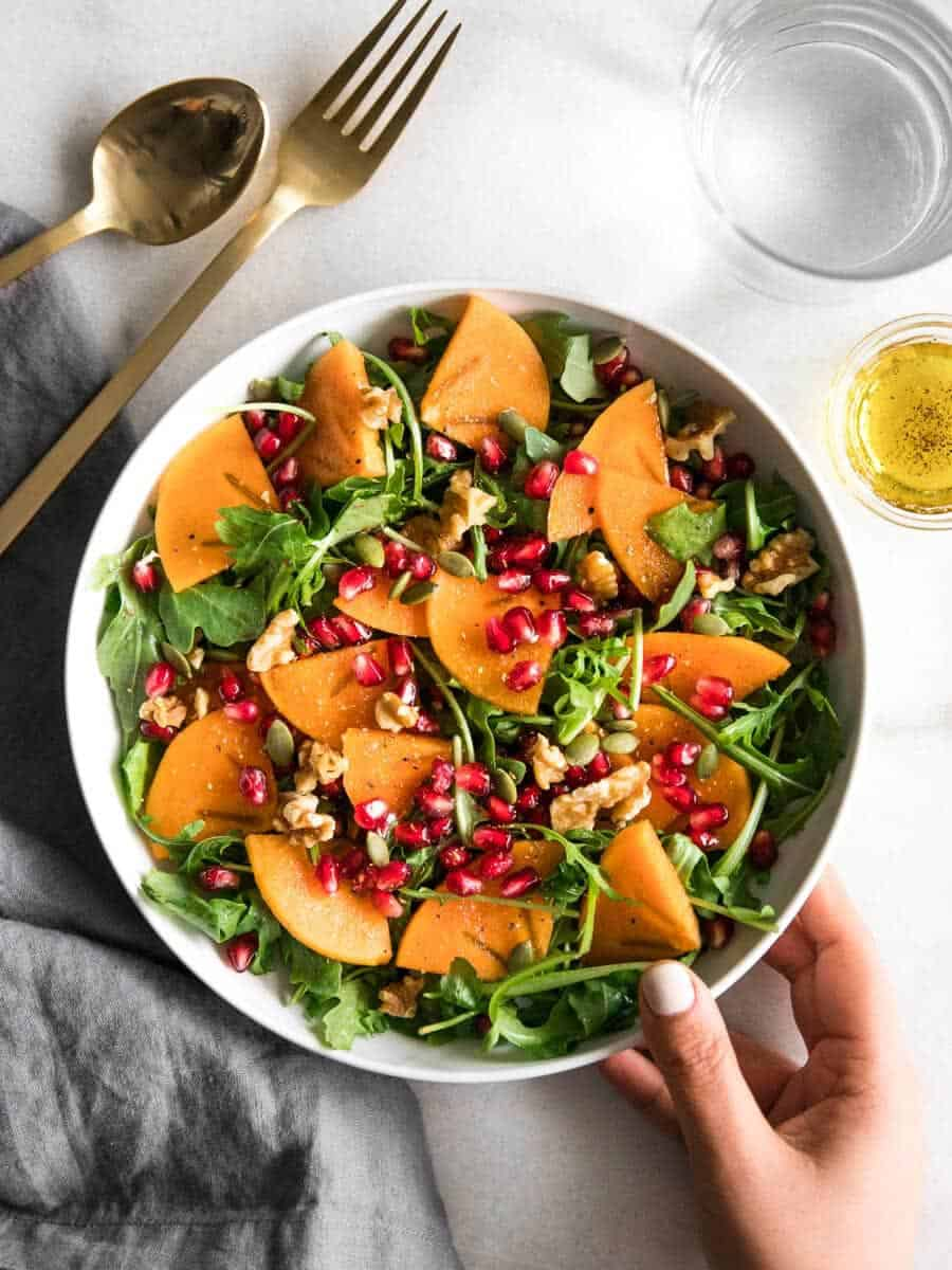 Persimmon salad with pomegranate