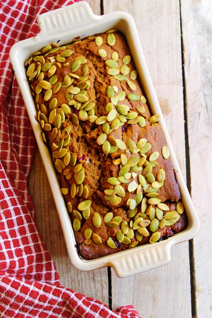 healthy pumpkin bread in a loaf pan