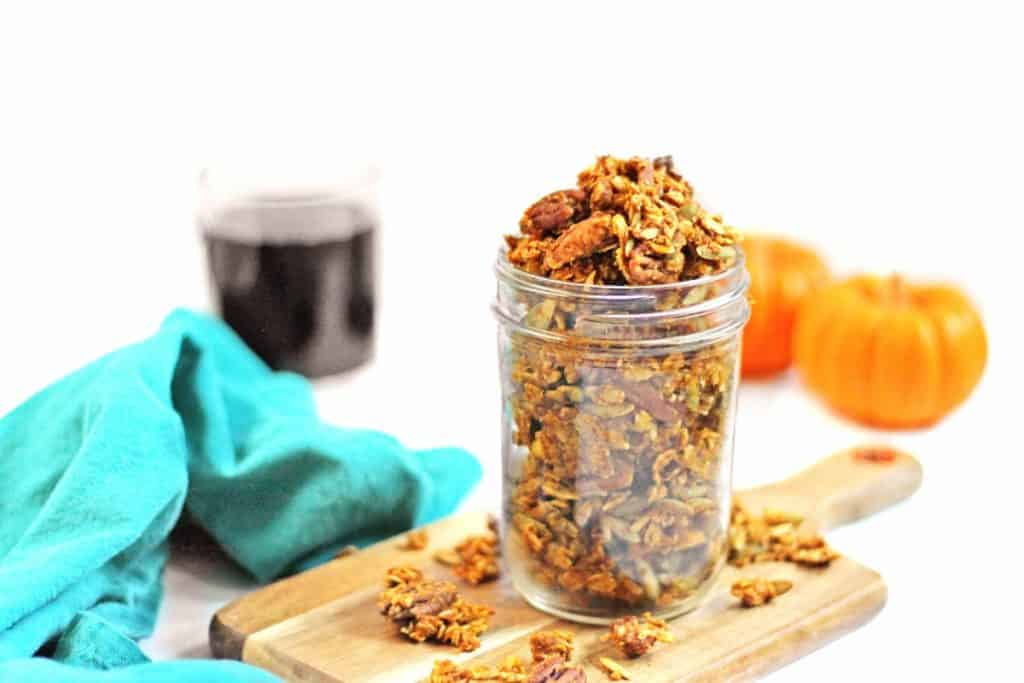 pumpkin spice granola in a jar