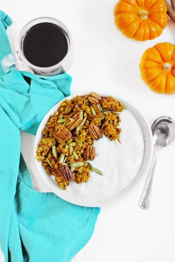 pumpkin granola with yogurt