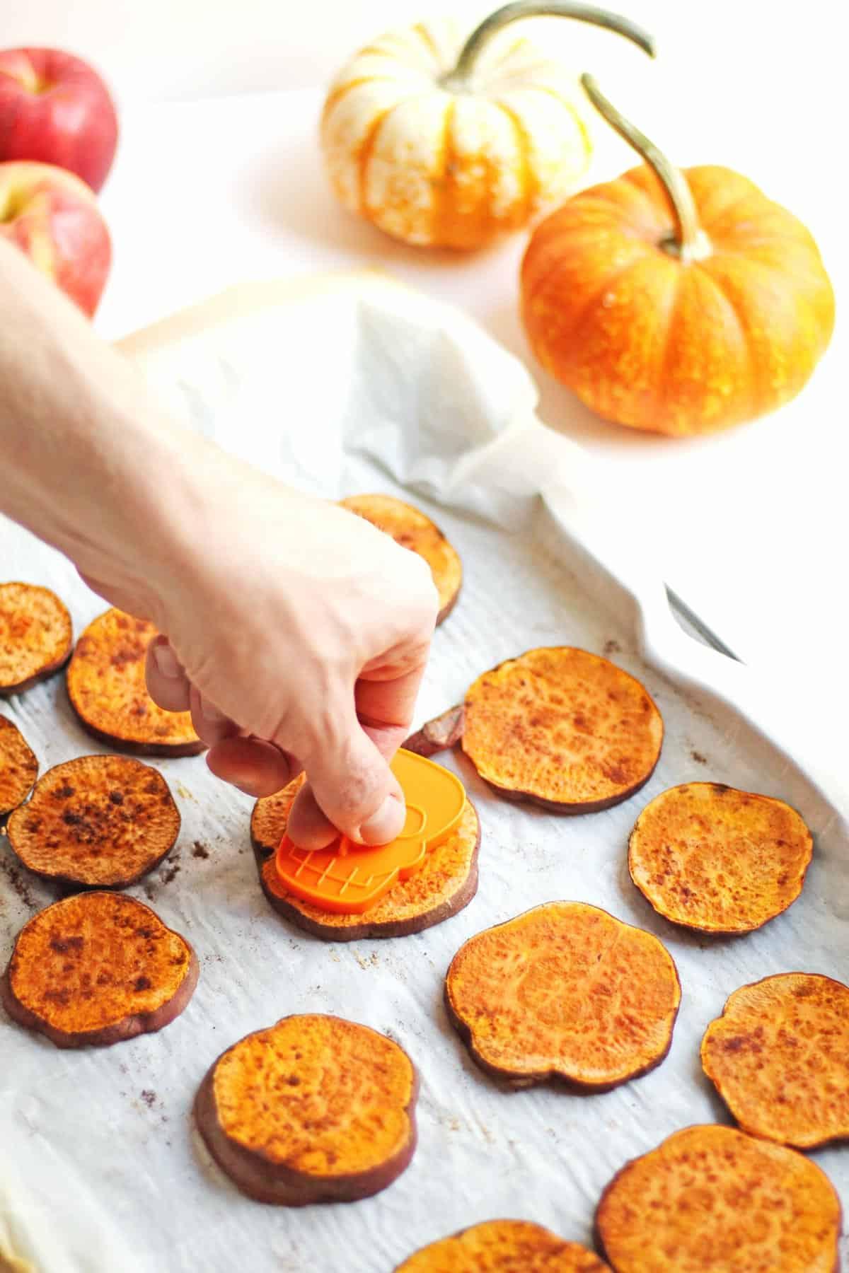 Roasted sweet potato Halloween bites