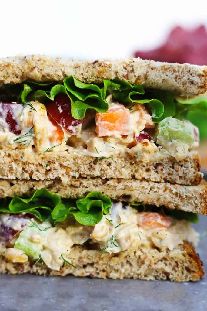 close up of a chickpea salad sandwich