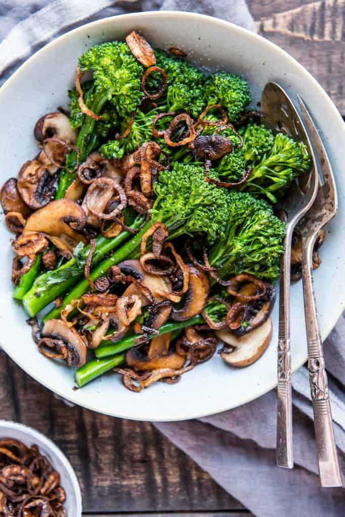 broccoli with shallots and mushrooms