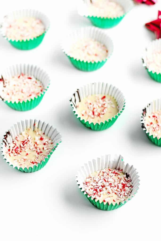 chocolate peppermint cups in green liners