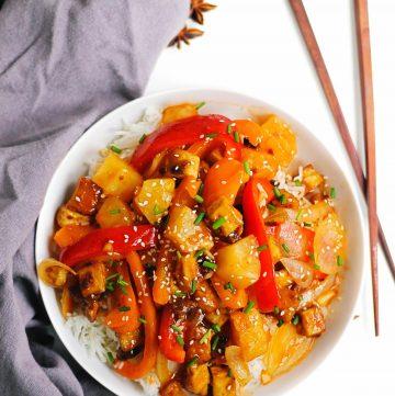 Sweet n sour tofu with chopsticks