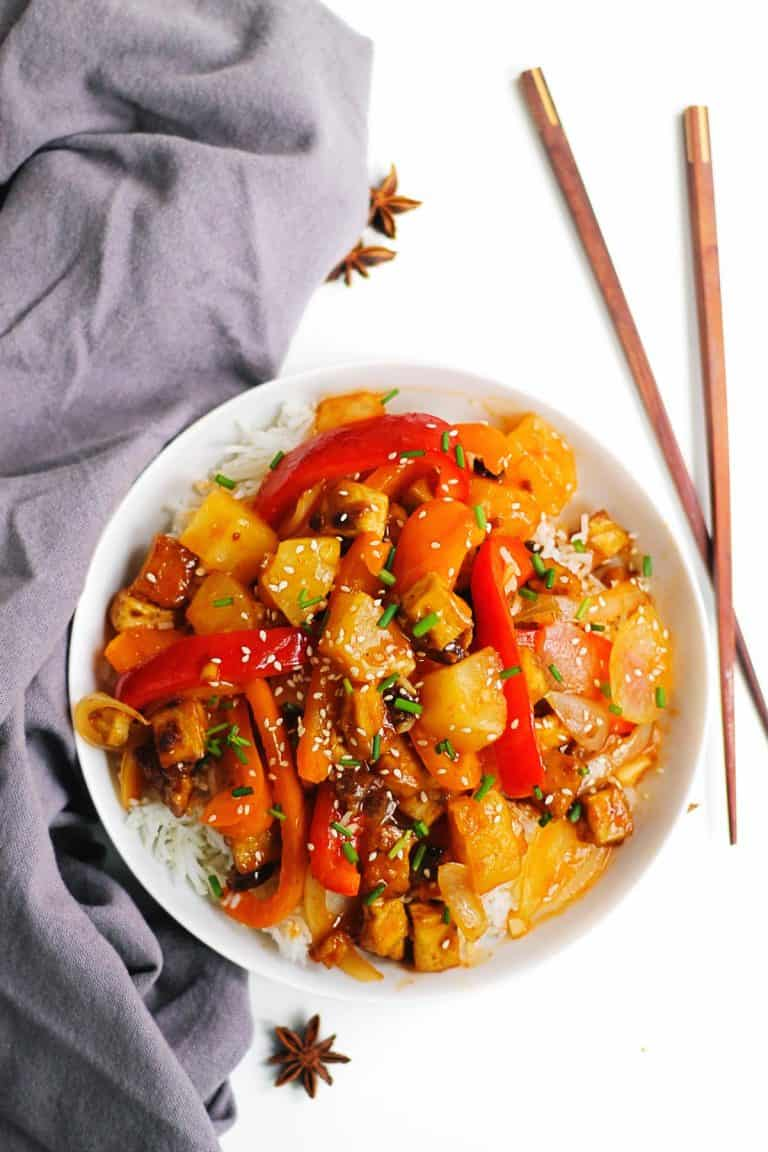 Sweet n sour tofu with chopsticks