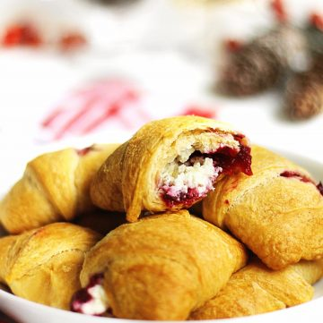 inside of a cream cheese cranberry crescent roll