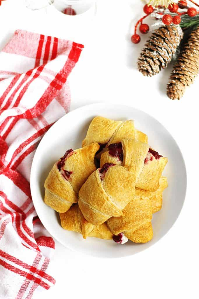 cream cheese cranberry crescent rolls in a bowl