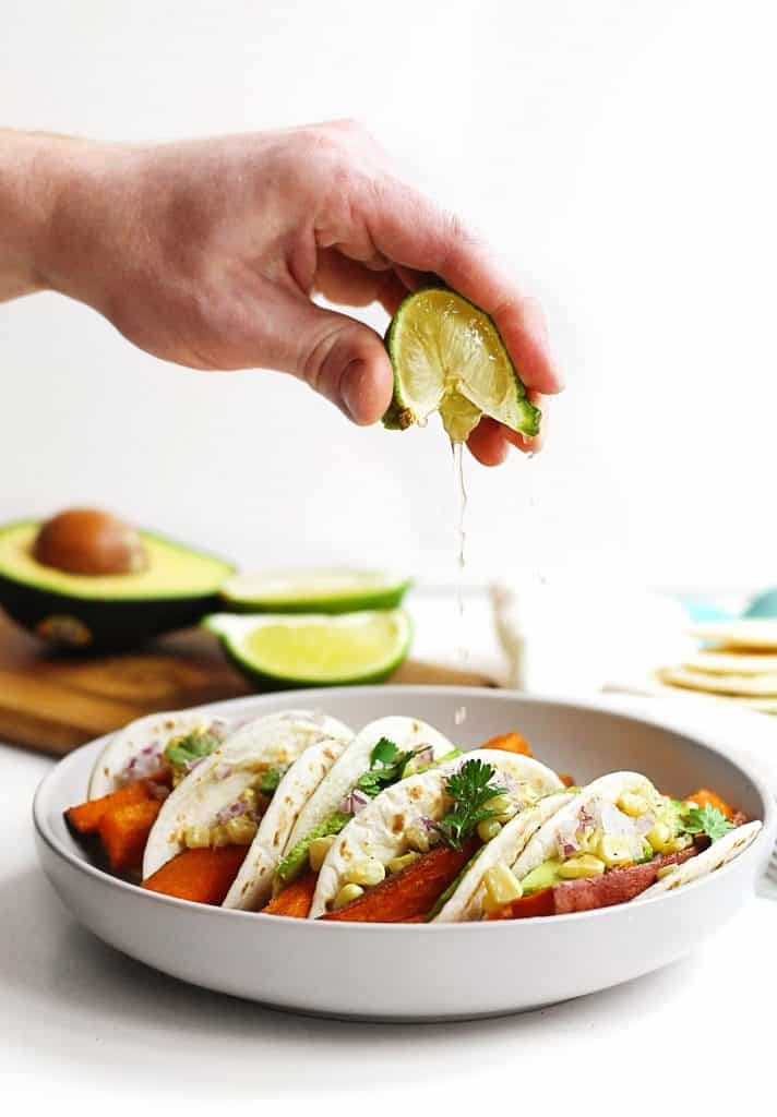 Lime on squeeze on tacos