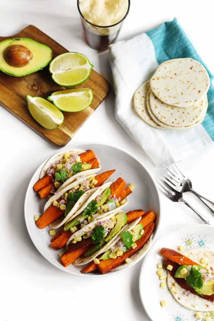 Beer marinated sweet potato tacos