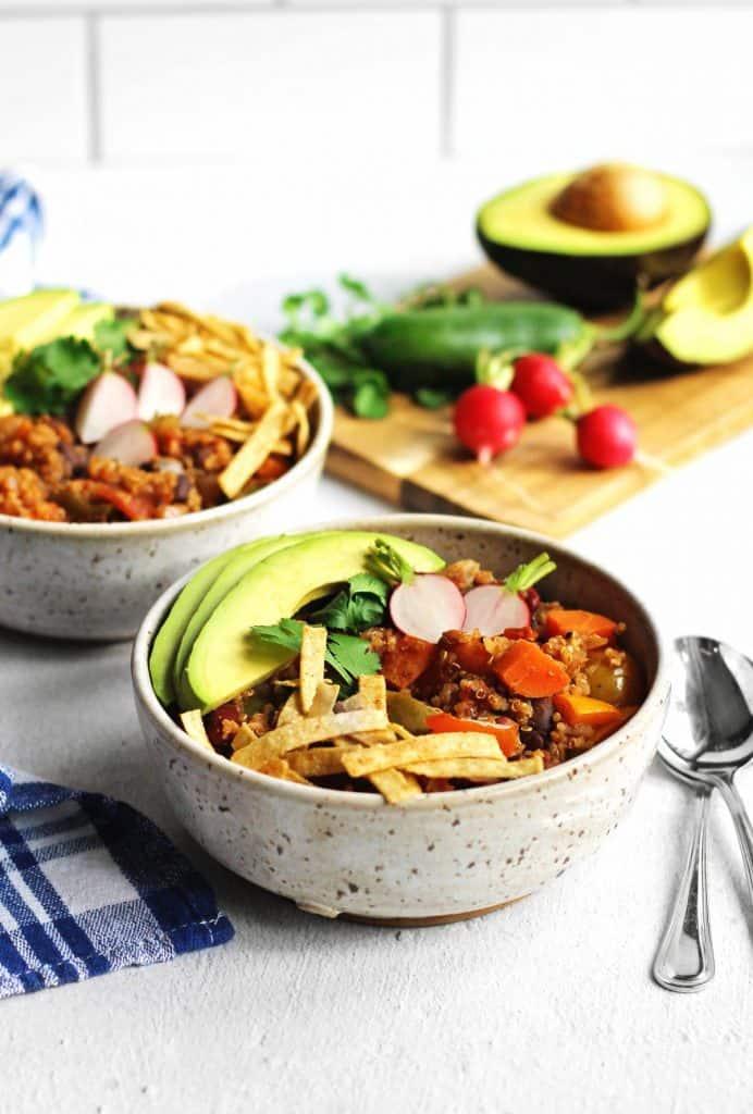 Quinoa chili with avocado and tortilla strips