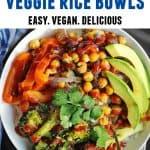 bbq chickpea veggie rice bowls