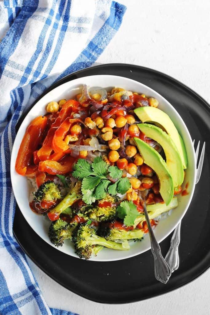 BBQ chickpea veggie rice bowl