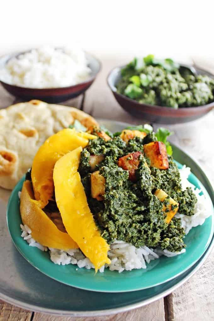 Saag paneer with mango
