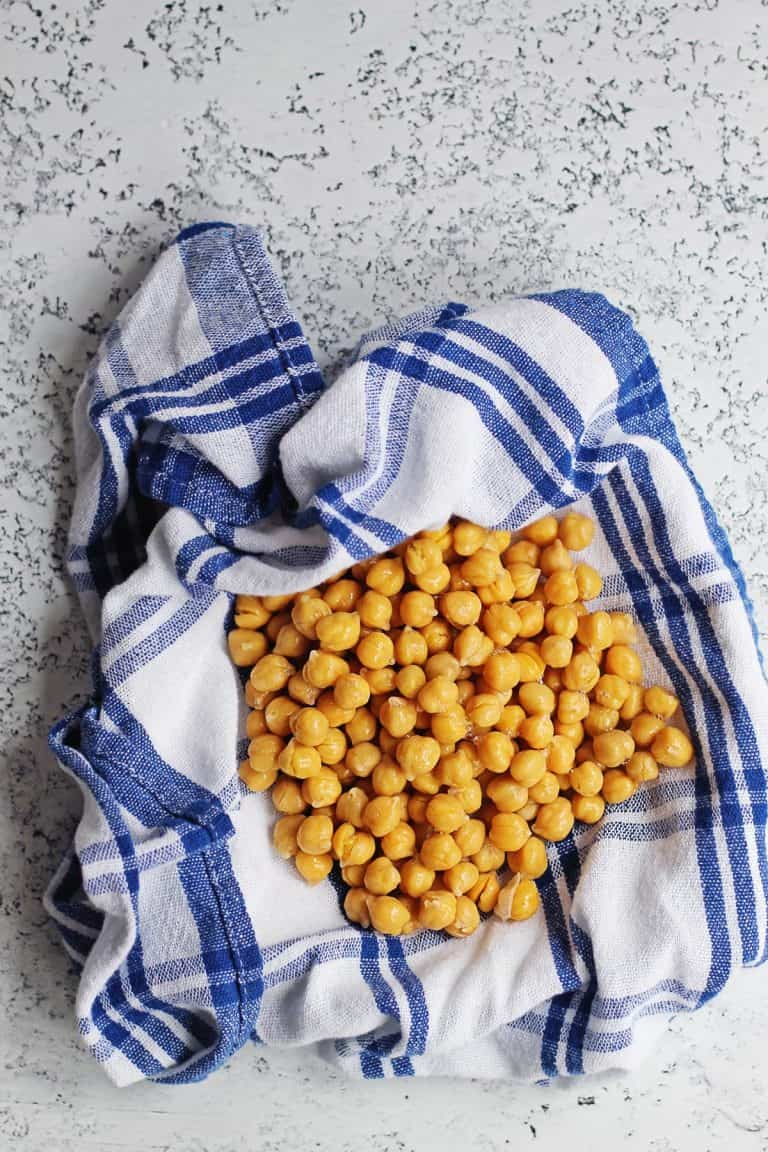 chickpeas in a towel