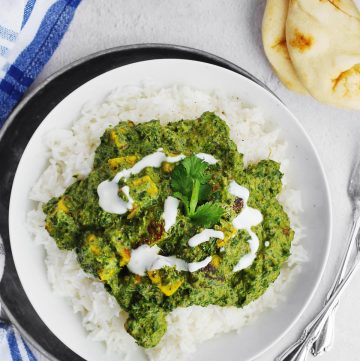 Saag paneer with yogurt