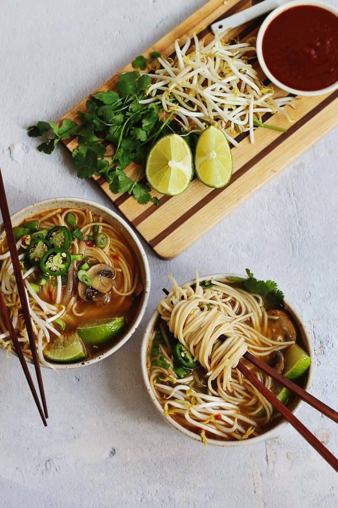 vegan pho recipe with pho toppings