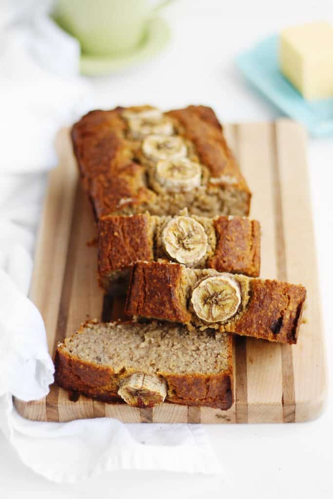 oat flour banana bread slices
