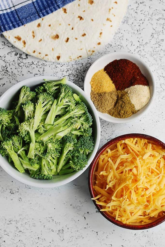 Broccoli cheddar quesadilla ingredients