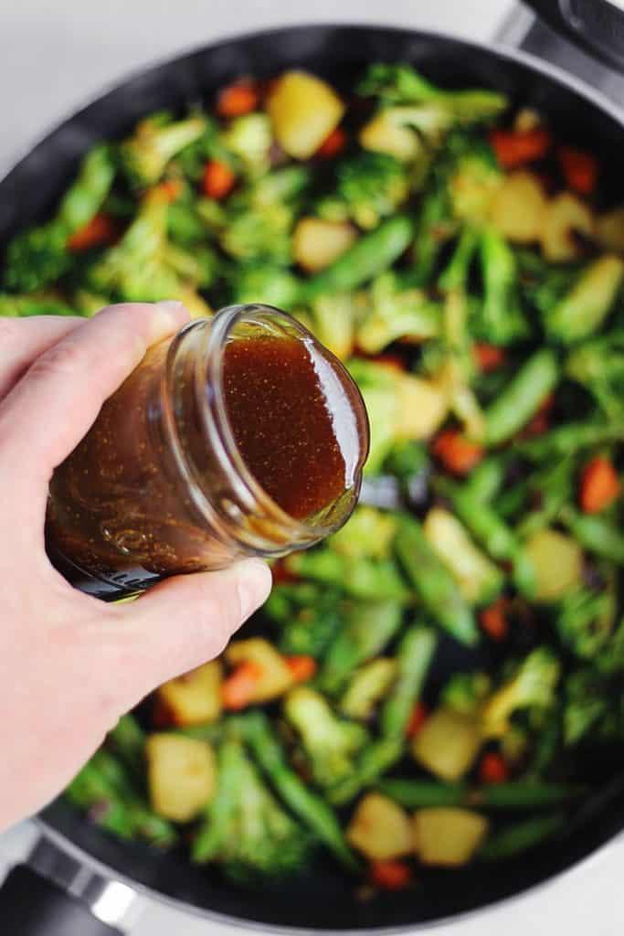 Homemade teriyaki sauce over veggies