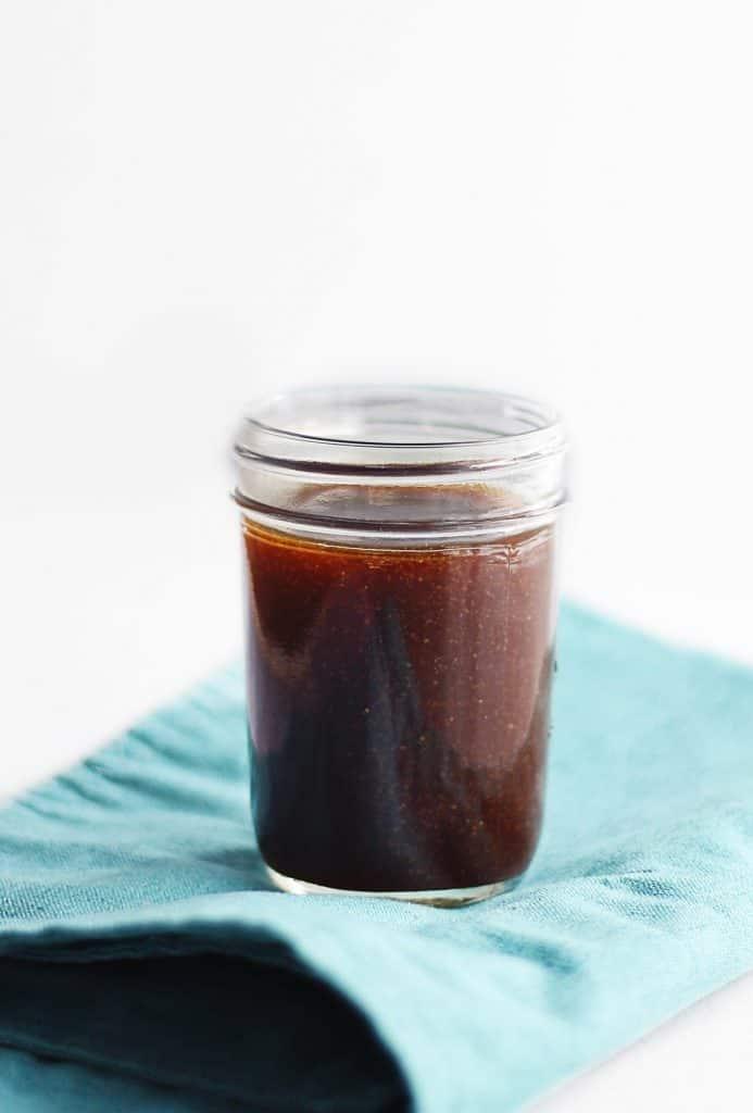 Homemade teriyaki sauce in a mason jar