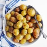 Instant Pot baby potatoes in a white bowl