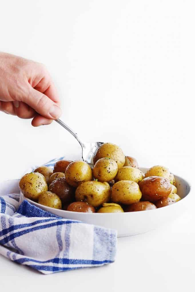 Instant Pot baby potatoes being served