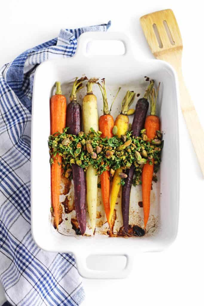 Roasted carrots with mint pistachio relish