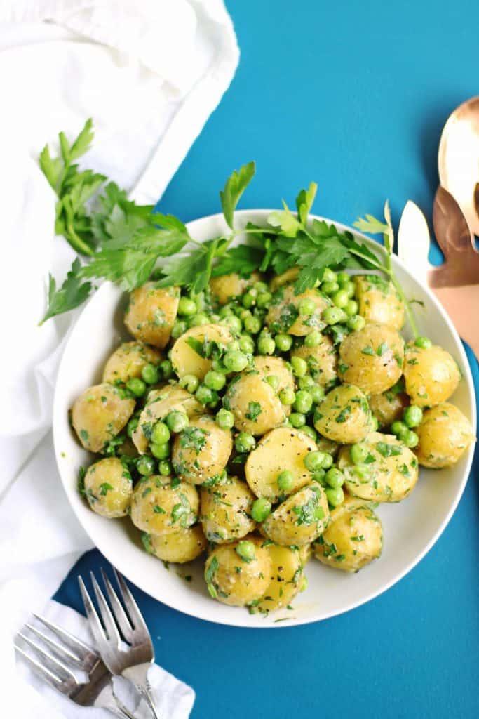 spring potato salad with peas