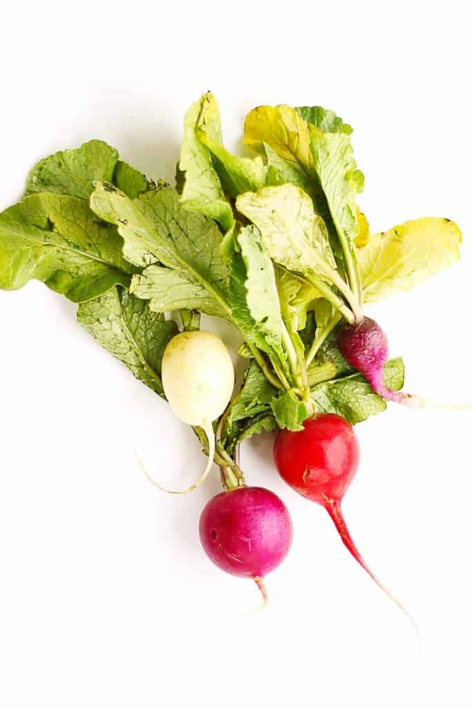Easter egg radishes with greens