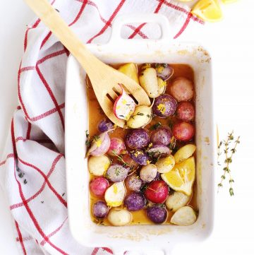 Oven roasted radishes with a wooden spoon