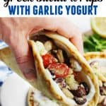 Greek salad wraps pinterest pin with text