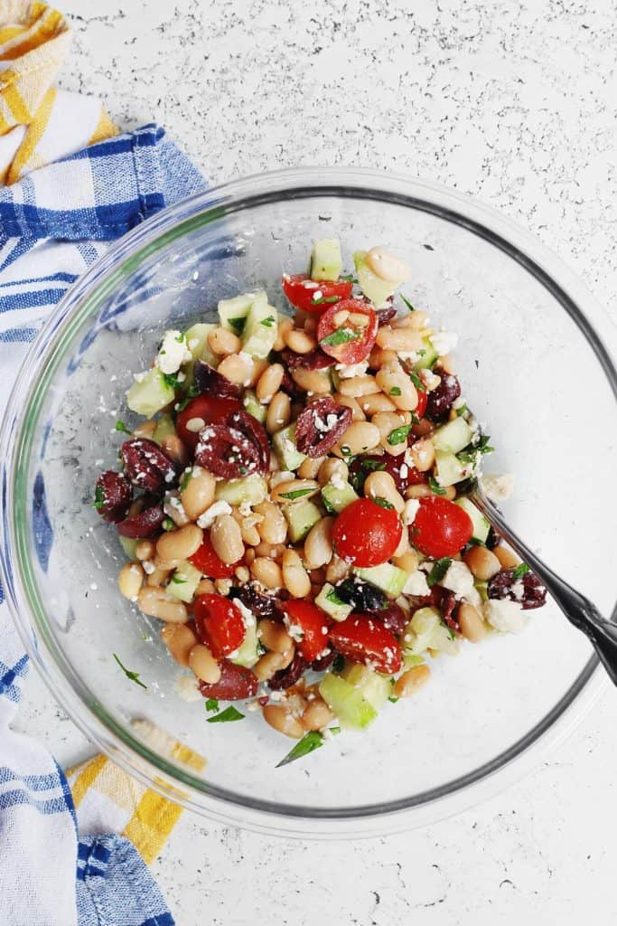 Greek salad with white beans
