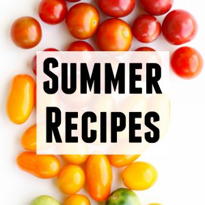 summer recipes text with tomato photo