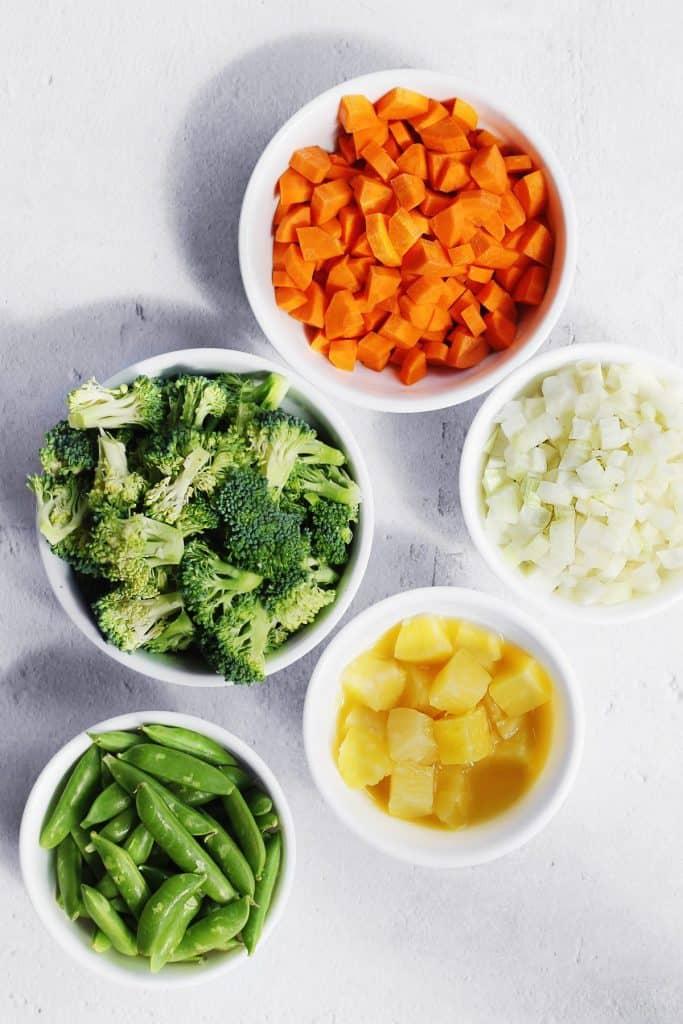 Ingredients for stir fry vegetables