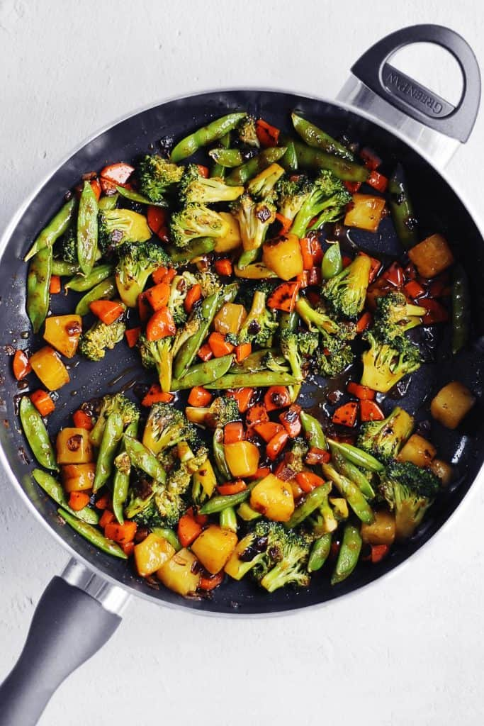 Teriyaki vegetables in a pan