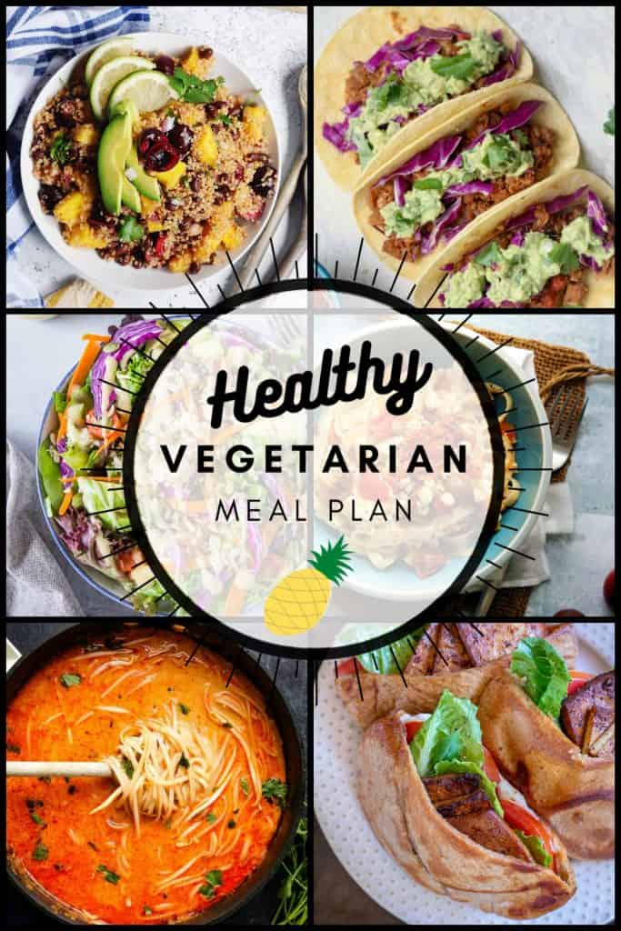 Healthy vegetarian meal plan week pinterest collage graphic