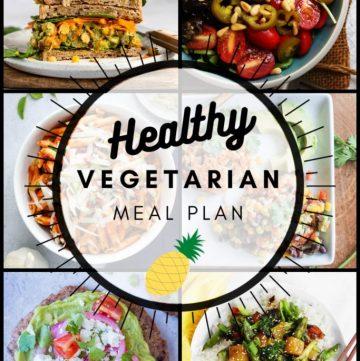 Healthy vegetarian meal plan pinterest graphic week 34