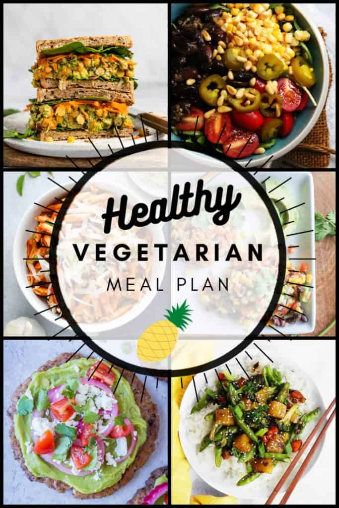 Healthy vegetarian meal plan pinterest graphic week 34