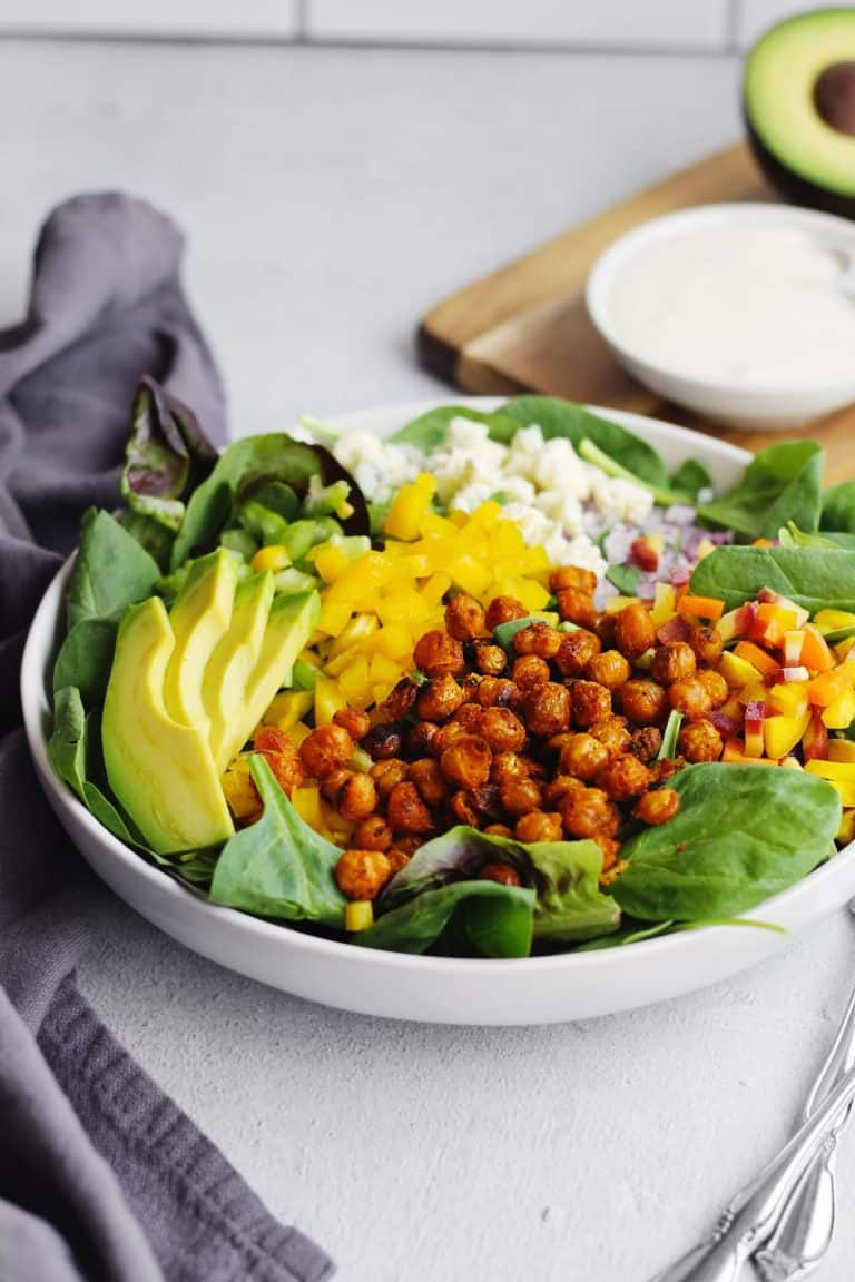Crispy buffalo chickpea salad with a side of ranch