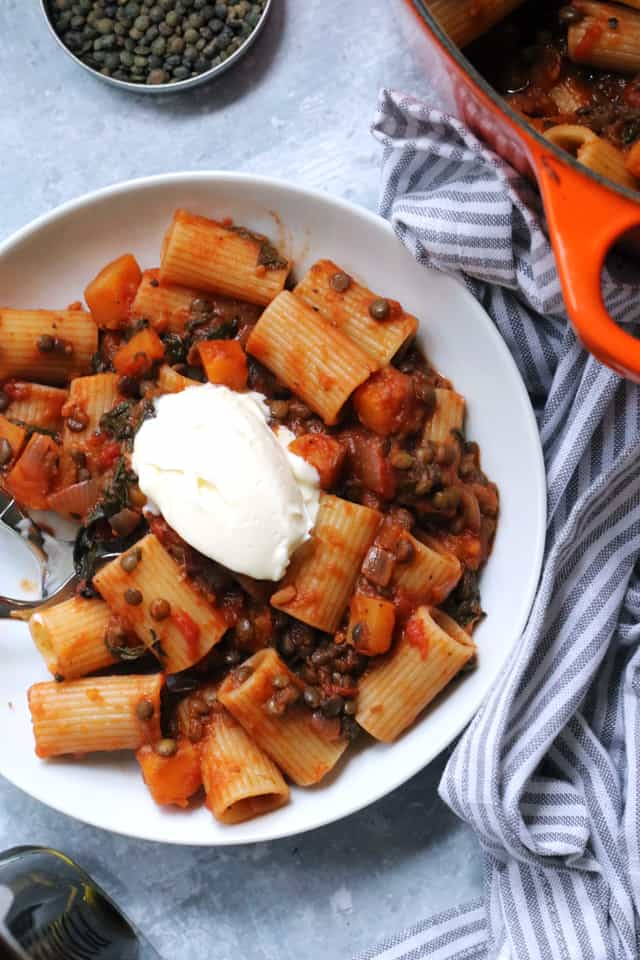 Butternut squash and lentil bolognese pasta with a dollop of mascarpone